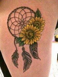 Sunflower tattoo with a dream catc - 185 Thigh Tattoos