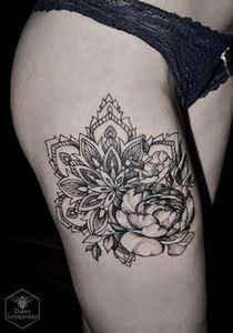 Mandala and flower thigh tattoo -  - 185 Thigh Tattoos