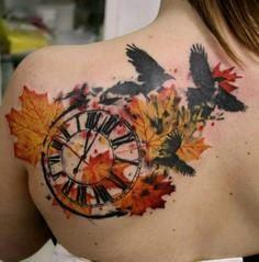 Fall Time Trash Polka tattoo  - 120 Trash Polka Tattoos