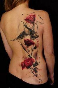 Poppy Bird Trash Polka tattoo - 120 Trash Polka Tattoos