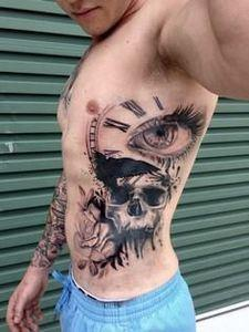 Rose, Skull, Eye, Time piece Crow - 120 Trash Polka Tattoos