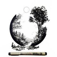 Pen and Ink artwork by Derek Myers - 175 Popular Tree Tattoo