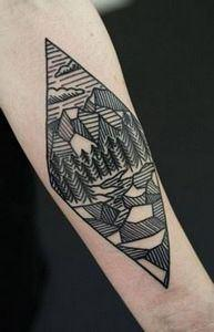 Nice Landscape Mountains With Tree - 175 Popular Tree Tattoo