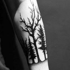 Males Modern Black Forest Outline  - 175 Popular Tree Tattoo