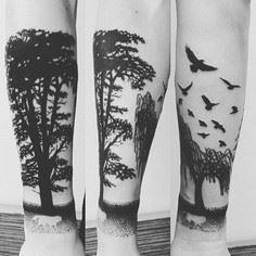 Cool Negative Space Wolf Forearm T - 175 Popular Tree Tattoo