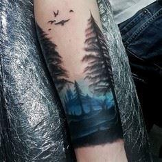 Blue Ink Sky Watercolor Mens Forea - 175 Popular Tree Tattoo